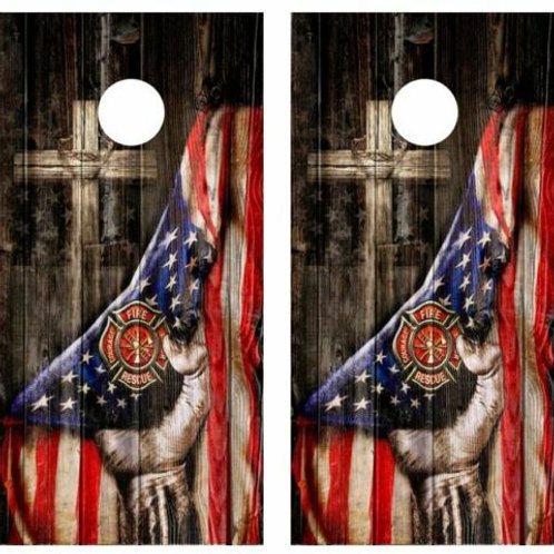 Firefighter Cross Barnwood Cornhole Wood Board Skin Wraps FREE LAMINA