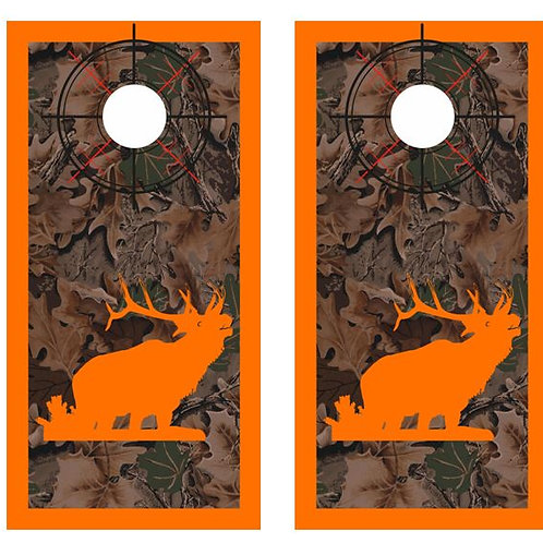 Bugeling Elk Real Tree Camo Cornhole Wood Board Skin Wr