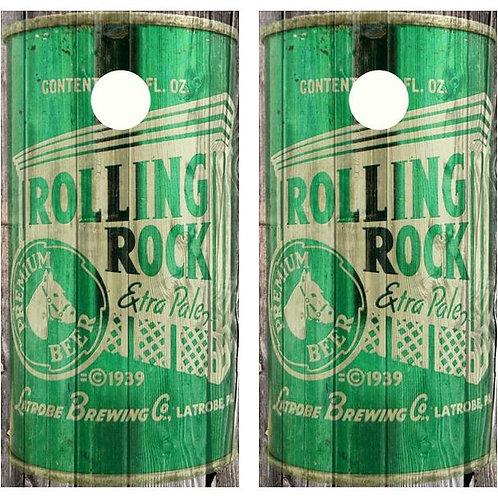 Vintage Rolling Rock Beer - Beer Can Barnwood Cornhole Woo