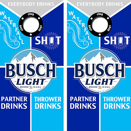 Busch Light Cornhole Wood Board Skin Wraps FREE LAMINATE