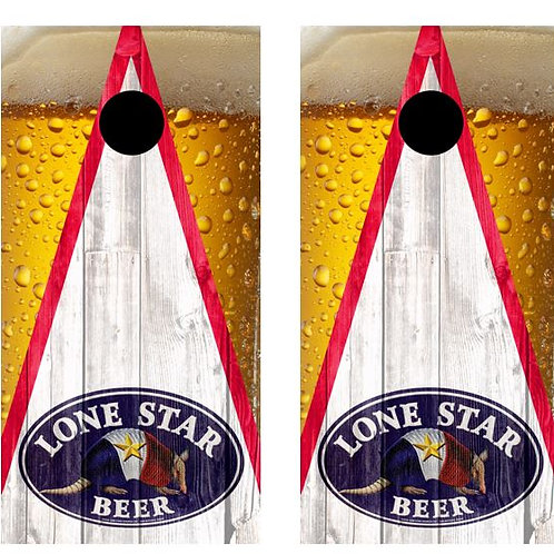 Lone Star Beer Armadillo Barnwood Cornhole Wood Board Skin Wr