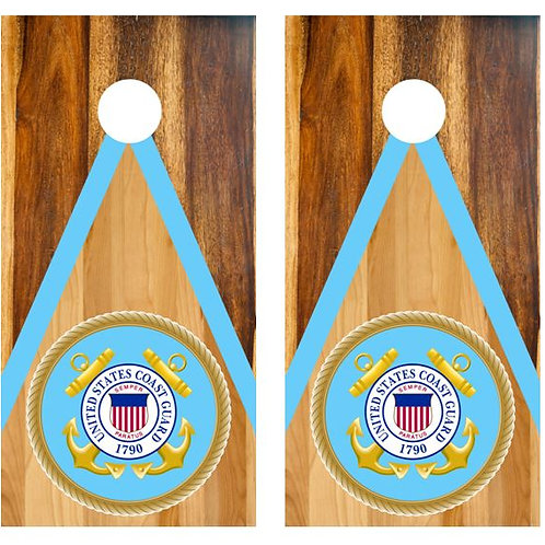 U.S. Coast Guard Two Tone Wood Cornhole Wood Board Skin Wrap
