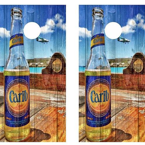 Carib Beer Bottle Barnwood Cornhole Wood Board Skin Wrap