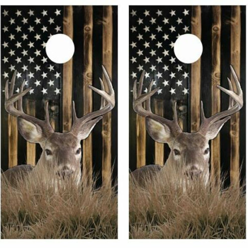 Buck Rustic Flag Cornhole Wood Board Skin Wrap