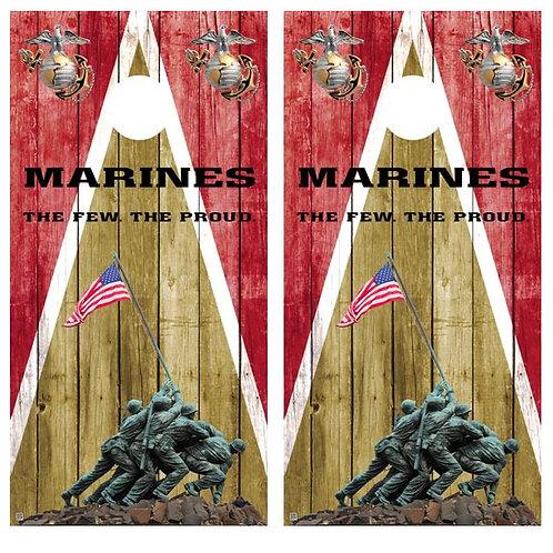 Marines The Few The Proud Barnwood Cornhole Wood Board Skin Wrap