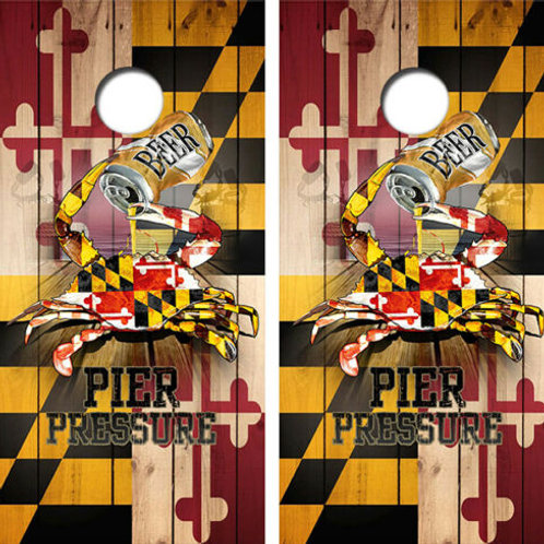 Maryland Beer Crab Flag Cornhole Wood Board Skin Wraps