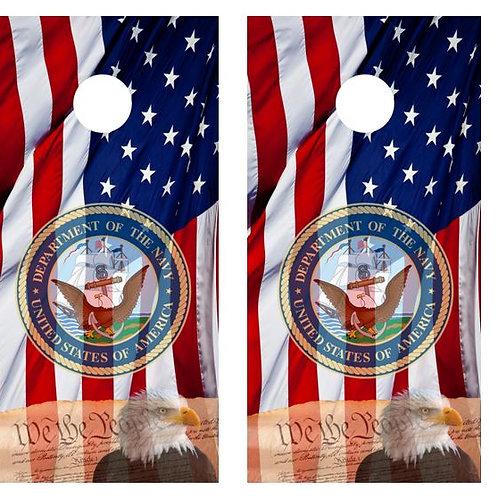 We The People American Flag Cornhole Board Wraps FREE LAMINATE