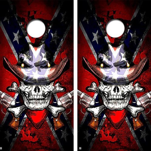 Skull Confederate Cornhole Board Wraps FREE LAMINATE