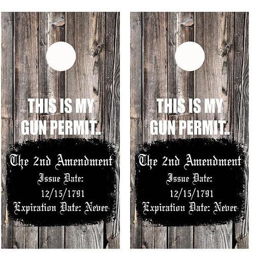 This Is My Gun Permit Cornhole Wood Board Skin Wrap