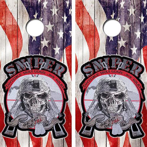 United States Sniper Cornhole Wood Board Skin Wraps FREE LAMINATE