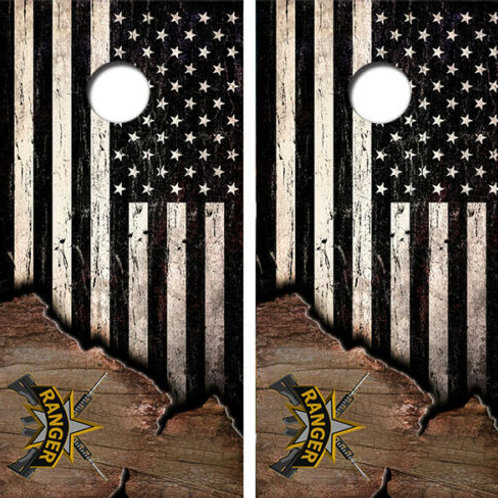 Ameircan Flag U.S. Rangers Cornhole Wood Board Skin Wrap