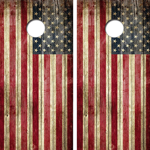 American Flag Cornhole Wood Board Skin Wraps FREE LAMINATE