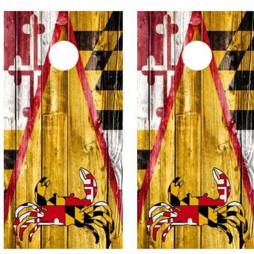 Maryland Crab Themed Barnwood Cornhole Wood Board Skin Wraps FREE LAMI
