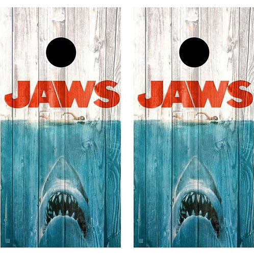 Jaws Barnwood Cornhole Wood Board Skin Wraps FREE LAMI