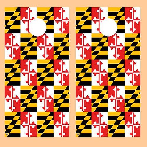Maryland Flag Cornhole Wood Board Skin Wrap