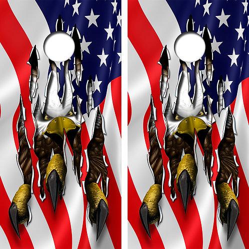 American Flag/ Bald Eagle Cornhole Wood Board Skin Wraps FREE LAMINATE