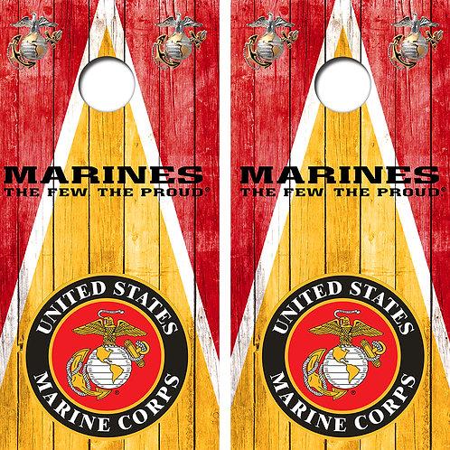 Marines Triangle Cornhole Wood Board Skin Wraps FREE LAMINATE