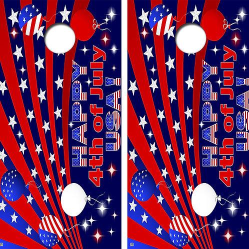 4th of July USA Cornhole Board Skin Wraps FREE LAMINATE
