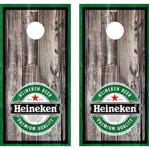 Heineken Beer Barnwood Cornhole Wood Board Skin Wr
