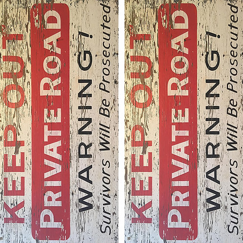 Keep Out Private Road Cornhole Board Skin Wraps FREE LAMINATE