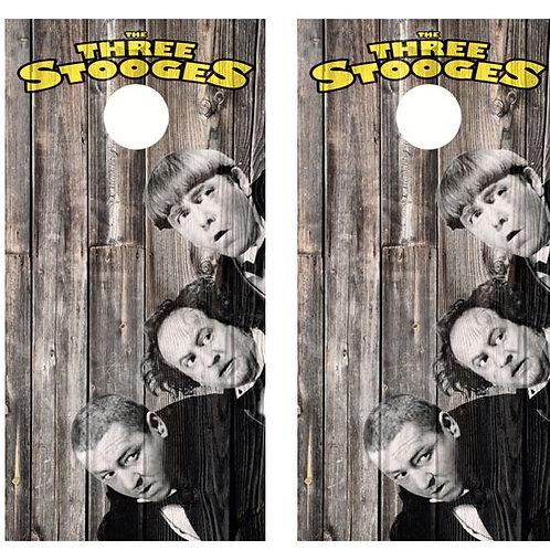 The Three Stooges Barnwood Cornhole Wood Board Skin Wrap