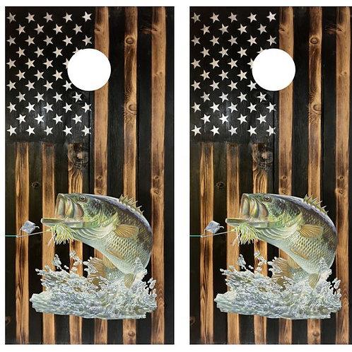 Rustic Flag Bass Fishing Cornhole Wood Board Skin Wrap