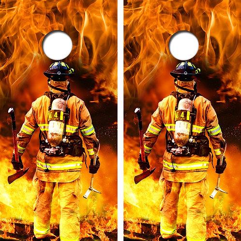 Fire Fighter Cornhole Wood Board Skin Wraps FREE LAMINATE