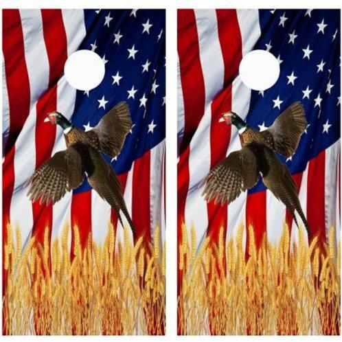 Flying Pheasant American Flag Cornhole Wood Board Skin Wrap