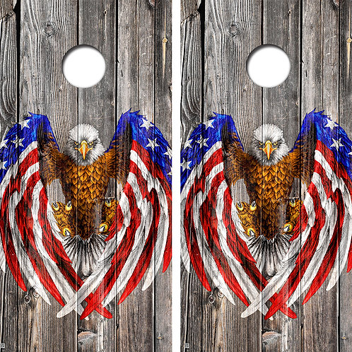 Bald Eagle American Flag Wood Cornhole Board Wraps FREE LAMINATE