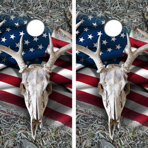 Deer Skull Flag Cornhole Wood Board Skin Wraps FREE LAMINAT