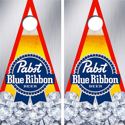 Pabst Blue Ribbon Beer Cornhole Wood Board Skin Wraps FREE LAMINATE