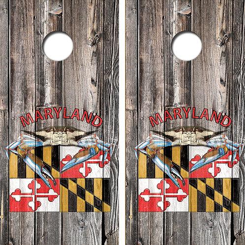 Maryland Theme Cornhole Wood Board Skin Wraps FREE LAMINATE