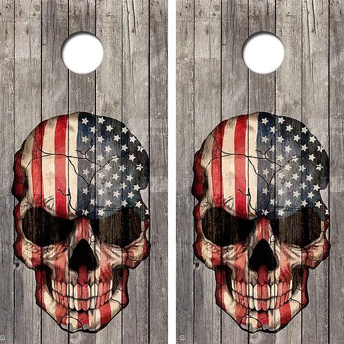 Vintage Skull American Flag Cornhole Wrap FREE LAMINATE