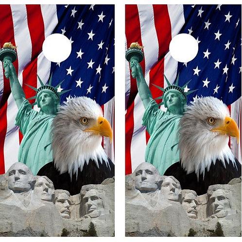 Patriotic America Themed Cornhole Wood Board Skin Wrap