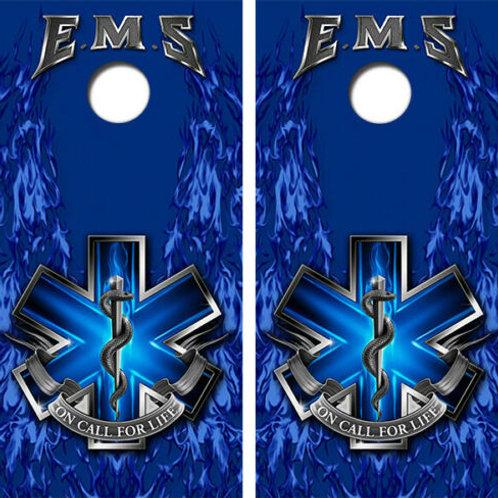 EMS Themed Cornhole Wood Board Skin Wrap