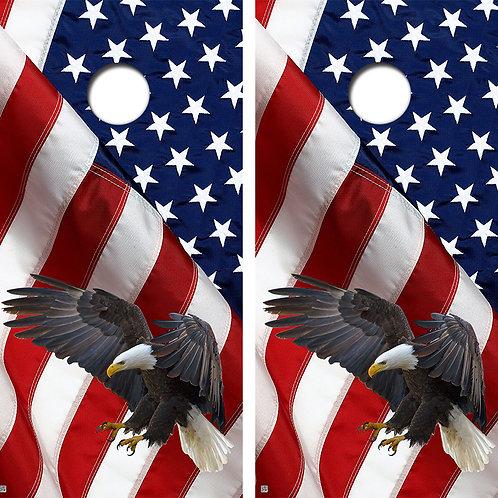 Bald Eagle American Flag Cornhole Board Skin Wraps FREE LAMINATE