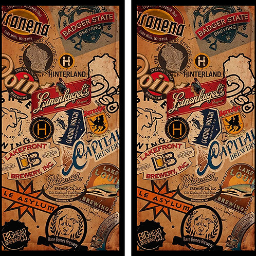 Multi Beer Labels Cornhole Wood Board Skin Wrap