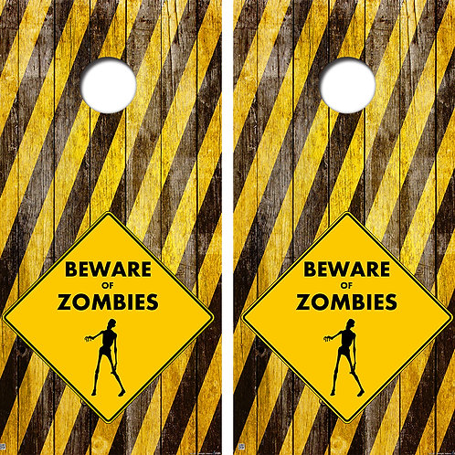 Zombies Crossing Cornhole Board Skin Wraps FREE LAMINATE
