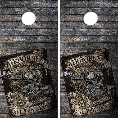 Airborne All The Way Cornhole Board Skin Wrap FREE LAMINATE