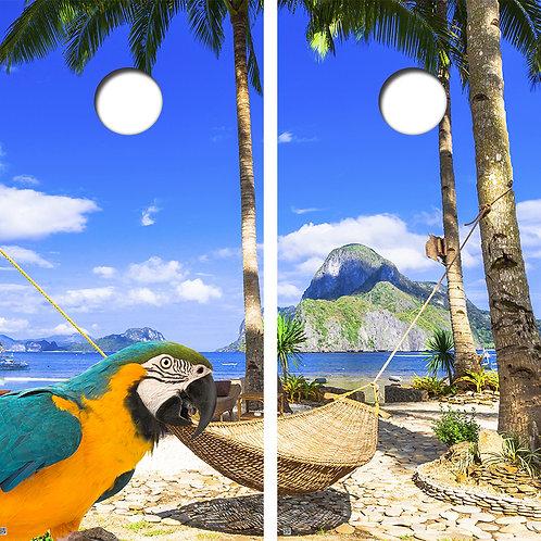 Vacation Cornhole Board Skin Wraps FREE LAMINATE