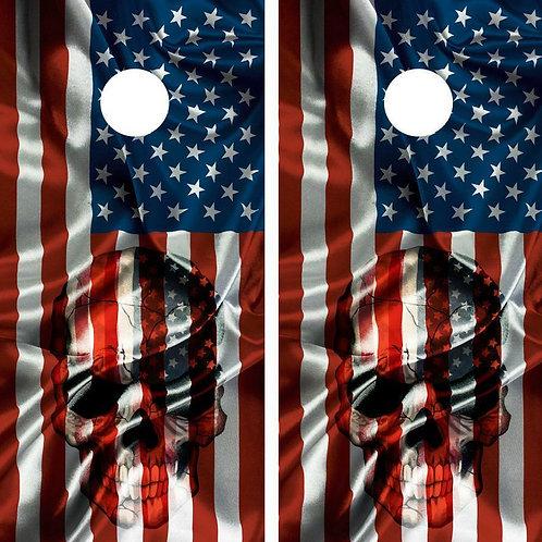American Flag & Skull Cornhole Wood Board Skin Wrap