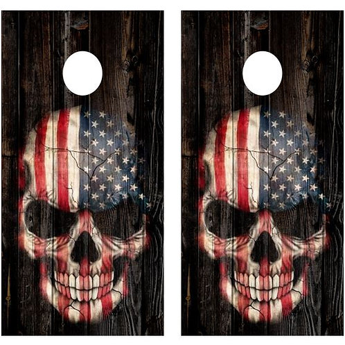 American Flag Skull Barnwood Cornhole Wood Board Skin Wr