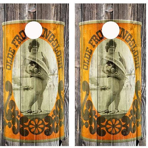 Vintage Olde Frothingslosh Beer -  Yellow Beer Can Barnwood Cornhole Woo