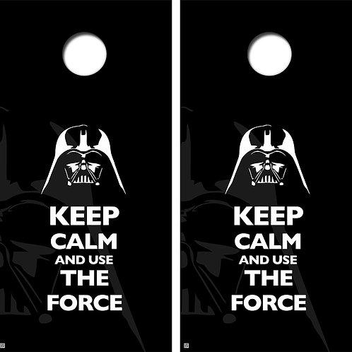 Keep Calm And Use The Force Cornhole Board Skin Wrap FREE LAMINATE