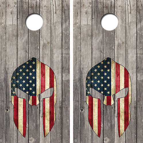 Spartan American Flag Helmet Cornhole Wood Board Skin Wrap