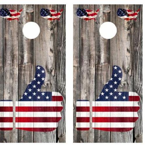 Thumbs Up To Patriotism Barnwood Cornhole Wood Board Skin Wrap