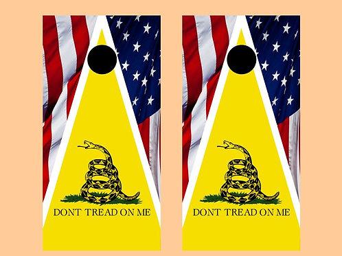 American Flag Don't Tread On Me Cornhole Wood Board Skin Wr