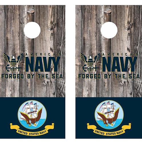 US Navy forged By The Sea Barnwood Cornhole Wood Board Skin Wr