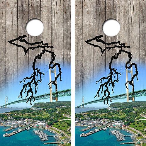 Michigan Roots Mackinac Bridge Cornhole Wood Board Skin Wraps
