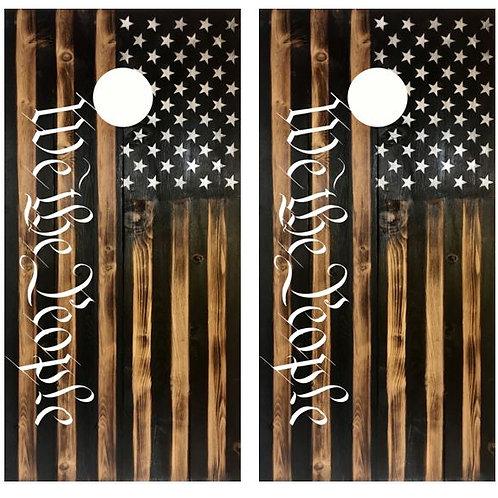 We The People Rustic American Flag Cornhole Wood Board Skin Wraps